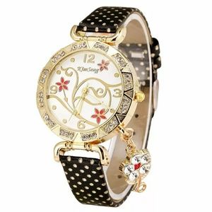 Accessories - Leather & Gold Floral Polkadot Watch